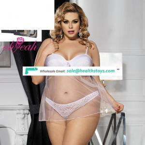 Plus size sexy xxx hot mature women babydoll transparent nightwear