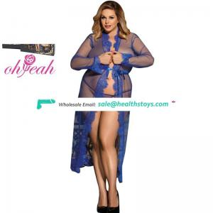 Plus size transparent long lace lingerie gown robe