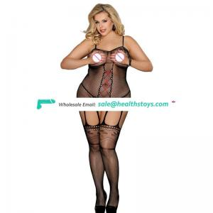 Plus size women crotchless sexy fishnet bodystocking