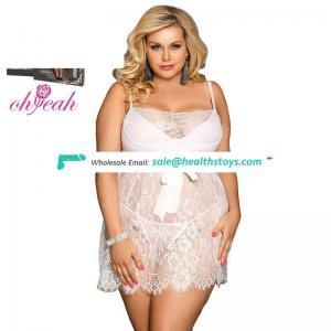 Plus size women night dress mature sexy lingerie for fat women