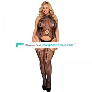 Private label hot plus size women sexy fishnet bodystocking