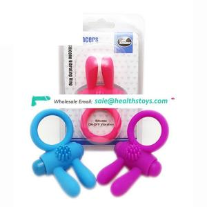 Rabbit Cocking vibrator lasting passionate cock ring super soft rubber double locking penis ball rings