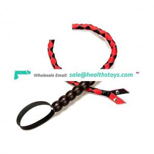 Red/Black Soft Pu Leather Whips With Wooden Handle Bondage Restraint And One Of Bow Tie For Couples Role Play