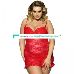 Red transparent high quality big size sexy fat women babydoll