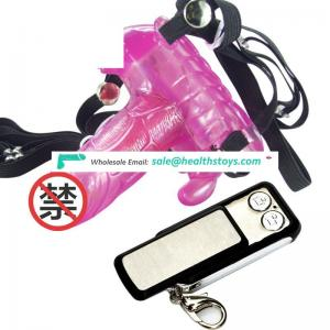 Remote control strap on vibrator for female vagina butterfly dildo vibrator sex toy pictures
