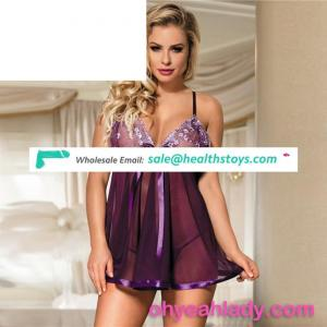 Romantic purple transparent hot women's sex nightwear