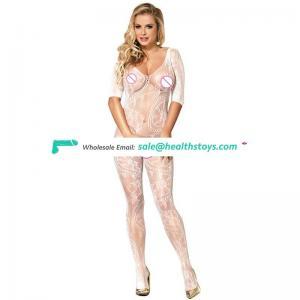 Romantic white long sleeve beautiful women fishnet bodystocking