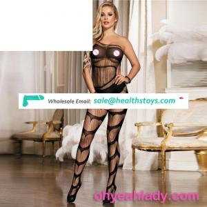 See through elastic wholesale ladies sheer nylon bodystocking