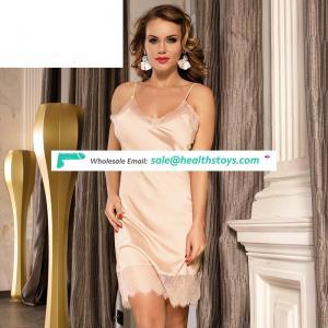 Sexy fashion silk lace high quality women nightie negligee satin slip