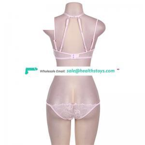 Sexy hot designer bra panty set latex bodysuit black