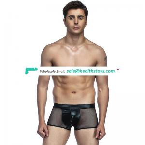 Sexy leather black mens underwear boxer shorts