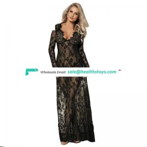 Sexy see through lace transparent dress sleepwear dress