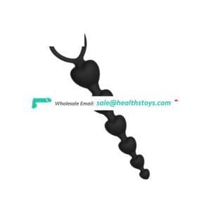 Silicone Heart Shape 6 Beads Anal Masturbation Toys SM Round Ball Butt Plug