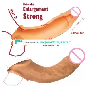 Silicone Sleeve Penis Enlargement Condom Prolong Sex Time Premature Ejaculation Scrotum Ring For Big Cock Man