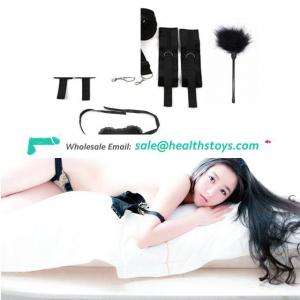 Soft Comfortable Cuffs For Ankle And Hand, Under Bed Restraint System Kit With Eye Mask And Feather Tickler