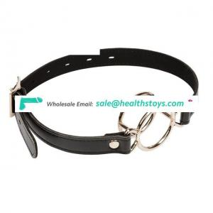 Soft Leather Deep Throat Double Round Ring Open Mouth Gag For Adult Games