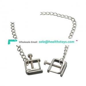 Square Stainless Steel Nipple Clamps Metal Chain Breast Flirt Toys