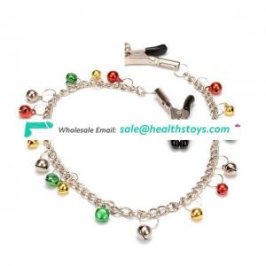 Stainless Rainbow Bells Nipple Clamps With Chain Clips For Female Bondage