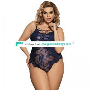 Strapless Plus Size Blue Sexy Lace Teddy Lingerie Latex Bodysuit