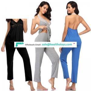 Three Color Halter Sexy Women Modal Cotton Pyjamas