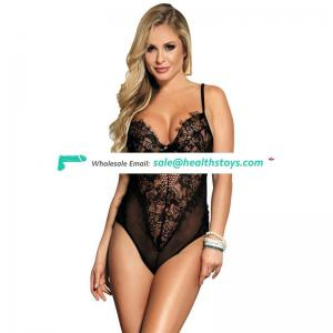 Transparent Kissable Backless Black Sheer Mesh Transgender Female Bodysuit
