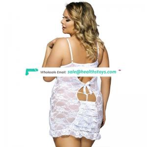 Transparent sexy white lace lingerie plus size