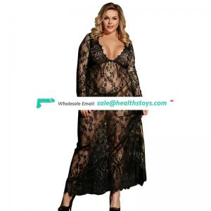 Two Color Four Size Mature Women Sexy Lace Wedding Womens Long Nightgown