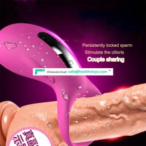 Waterproof USB Rechargeable Silicone Cocks Penis Rings and Massage Vibrator  for Couple