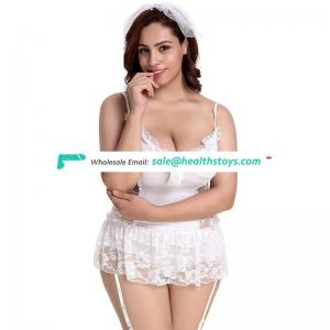 White lace bride plus size lingerie sexy fat women