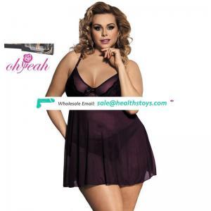 Wholesale Appealing Purple Plus Size Mini Night Dress For Sleep Sexy Lingerie