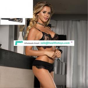 Wholesale Black Lace Sexy Woman Transparent Bra Panty Set