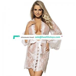 Wholesale Fast delivery Four Size White Long Sexy Lace Ladies Baby Doll Nighties