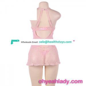 Wholesale Low MOQ Elegant Pink Lingerie Hot Mature Women Sexy Babydoll