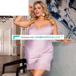 Wholesale Plus Size Sexy Fashion Silk Satin Lace Women Pajama Sleepwear