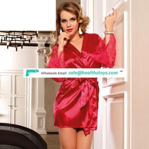 Wholesale hot transparent red lace silk nightwear