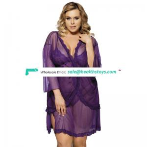 Wholesale in stock 3 pieces wear long sleeve sheer plus size sexy lingerie