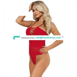 Wholesale personality red lace lace-up sexy teddy lingerie