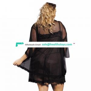 Wholesale plus size babydoll black sheer women sexy robe