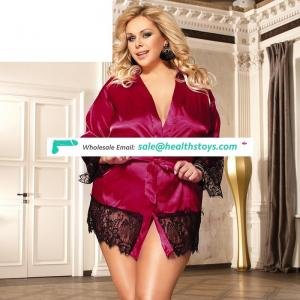 Wholesale plus size luxury purple red adult sheer silk lingerie sets for women