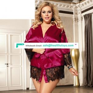 Wholesale plus size red women silk satin nightwear