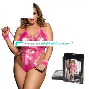 Wholesale plus size wrist restraints latex teddy lingerie