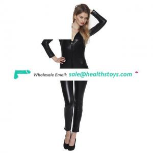 Women Lingerie Black Patent Leather Zip Details Leather Bodysuit Game Dancing