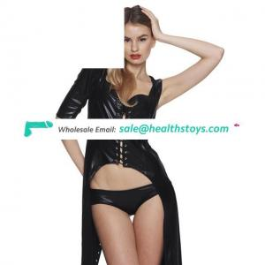 Women Lingerie Leather Wind Coat Dancing Bondage Backless Cosplay Suit