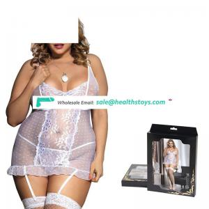 Women plus size transparent sexy white nighty
