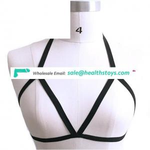 Womens Black Cupless Harness Halter Strappy Body Caged Bra One Size