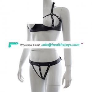 Womens Black Leather Dancing Open Bra Backless Lingerie Set