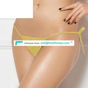 Yellow sexy girl hot sales t-back underwear