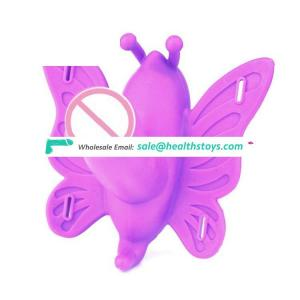 battery operated Remote control silicone butterfly strap on vibrator motor dildos
