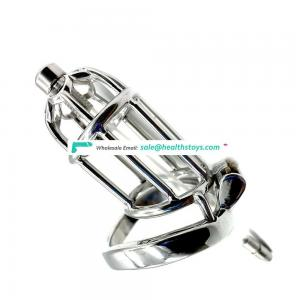2019 FRRK10C sex shop FRRK 9cm long chastity cock cage with catheter cock ring stainless steel chastity cage with catheter