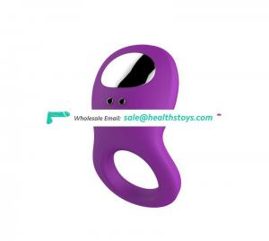 2019 Newest Adult Product Full Silicone Vibrating Cock Ring, Waterproof Rechargeable Penis Ring Vibrator for Couples